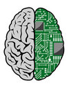 Brain and motherboard Royalty Free Stock Photos