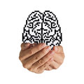 Brain pixel icon sign Royalty Free Stock Photos