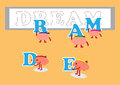 Brain post dream on board cartoon character vector illustration posting letters of conceptual image about teamwork that helping Royalty Free Stock Photo