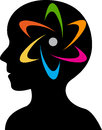 Brain power logo illustration art of a with isolated background Stock Images