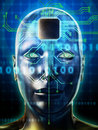 Brain processor human head with a microprocessor as digital illustration Royalty Free Stock Photo