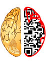 Brain and qr code the silhouette of a human head with the Stock Images