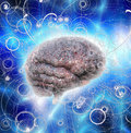 Brain radiates energy and thoughts Stock Images