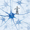 Brain research challenges as a medical concept with a science doctor walking on a human neuron connection as a high wire tight Stock Photos