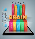 Brain smartphone infographic and business icon.