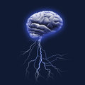 Brain storm with lightning strike and glow Stock Image