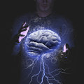 Brain storm man controls a Royalty Free Stock Image