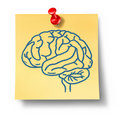 Brain symbol on yellow office note Royalty Free Stock Image