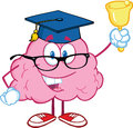 Brain teacher character ringing a bell smiling Stock Image