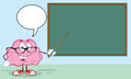 Brain teacher with a pointer in front of chalkboar smiling chalkboard Royalty Free Stock Photography