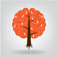 Brain tree illustration of knowledge medical environmental or business concept Royalty Free Stock Photography