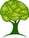 Brain tree logo illustration art of a with isolated background Stock Photo