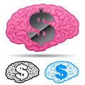 Brain with us dollar symbol Stock Images