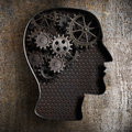 Brain work concept gears and cogs from old metal rusty Stock Photography