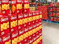 BRAINERD, MN - 30 MAR 2019: Boxes of Cheez It cheese snacks on display at a warehouse retail store Royalty Free Stock Photo