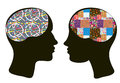 Brains and thinking concept of man and woman psychologies approach Stock Photos