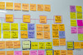 Brainstorm board post it creative process in design office using paper Stock Photo