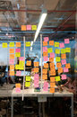 Brainstorm board post it in a crowded office Royalty Free Stock Images