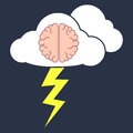Brainstorm concept vector illustration of the of with clouds and thunder bolt Royalty Free Stock Photo