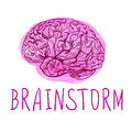BRAINSTORM. Handwritten letters and outline drawing of human brain on watercolor spot. Royalty Free Stock Photo