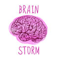 BRAINSTORM letters and outline drawing of human brain on paint spot. Royalty Free Stock Photo