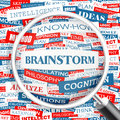 Brainstorm word cloud illustration tag cloud concept collage Stock Photos
