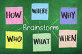 Brainstorm words questions how where what who why when Royalty Free Stock Images