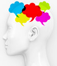 Brainstorming d generated picture of colorful speech bubbles Royalty Free Stock Photos
