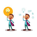 Brainstorming. Office worker with the idea of a light bulb.One of a series of similar images. Royalty Free Stock Photo