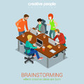 Brainstorming people flat 3d web isometric infographic concept