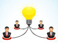 Brainstorming in the teamwork vector illustration of four businessmen doing to get bright idea Stock Photo