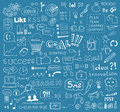 Brainstorming vector elements background hand drawn illustration of doodles on business and social media theme isolated on blue Royalty Free Stock Images