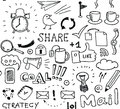 Brainstorming vector seamless pattern hand drawn of doodles elements on business and social media theme isolated on white Stock Photo