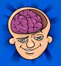 Brainy man cartoon illustration Royalty Free Stock Photo