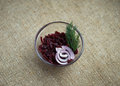 Braised beets childrens menu lunch time garnish with sunflower oil decorated with chopped onions Stock Images