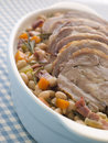 Braised Boneless Shoulder of Lamb with Beans Stock Images