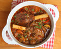 Braised lamb shanks in casserole dish stew Royalty Free Stock Image