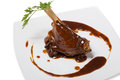Braised leg of lamb in sauce red wine Royalty Free Stock Image