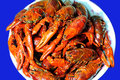 Braised lobster put red peppers and other condiments taste spicy is the typical one of chinese delicious food Royalty Free Stock Photo