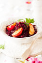 Braised red cabbage with apples for christmas Royalty Free Stock Photo