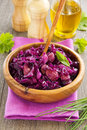 Braised red cabbage with sausages Royalty Free Stock Photos