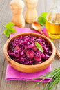 Braised red cabbage with sausages Royalty Free Stock Images
