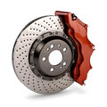 Brake Disc and Red Calliper from a Racing Car Stock Photography