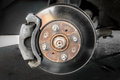 Brake discs and brake pads the system of brakes Stock Photo