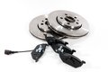 Brake pads and brake discs four two new for the car Stock Photo