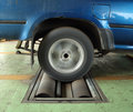 Brake testing system of car the old rear wheel Stock Photo