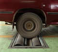 Brake testing system of car the old rear wheel Royalty Free Stock Images