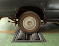 Brake testing system of car the old rear wheel Royalty Free Stock Photos