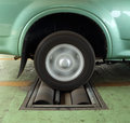 Brake testing system of car a rear wheel Royalty Free Stock Photo
