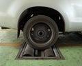 Brake testing system of car a rear wheel Royalty Free Stock Photo